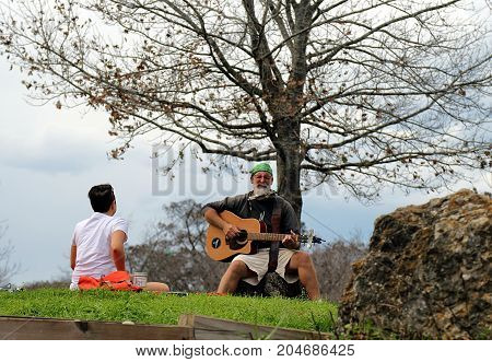 Austin, Texas - January 21, 2017: Musician performing in Zilker Metropolitan Park, Austin, Texas.