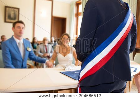 Mayor Man Seen From Behind At A Wedding Ceremony In France