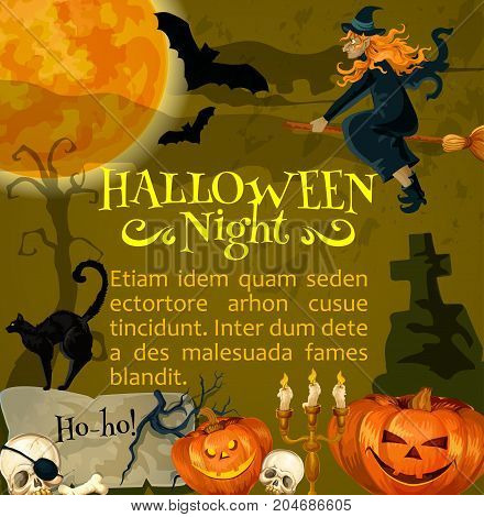 Halloween night poster or greeting card template for October spooky traditional trick or treat holiday celebration. Vector horror design of Halloween pumpkin lantern, witch and black cat on graveyard