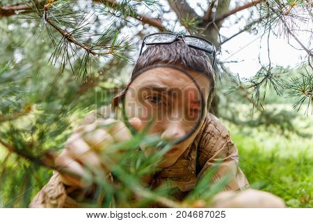 Picture of biologist with magnifying glass next to pine in forest on summer day