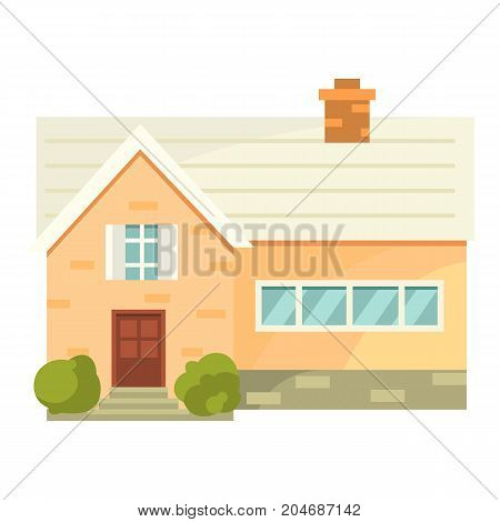 Cottage real estate building icon. Residential house cartoon style.