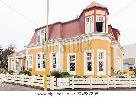 SWAKOPMUND NAMIBIA - JUNE 30 2017: An historic house used as guest house in Swakopmund in the Namib Desert on the Atlantic Coast of Namibia