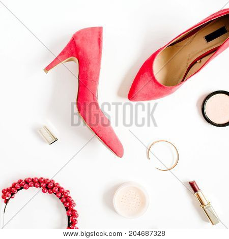Woman fashion high heels and accessories collage on white background. Flat lay top view feminine background.