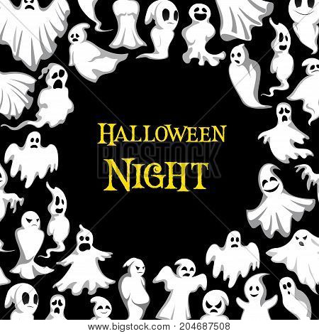 Halloween night poster of spooky ghosts pattern for horror holiday party celebration. Vector 31 Ocotber trick or treat design template of Halloween scary white ghost of haunted house