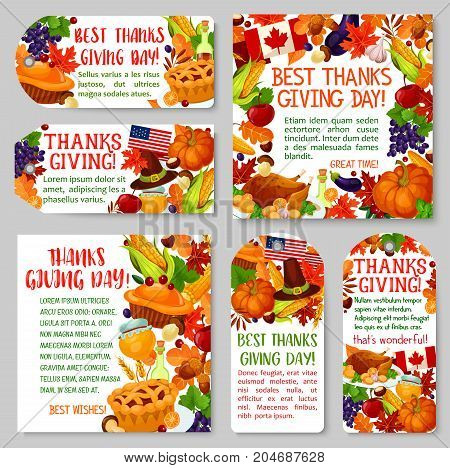 Thanksgiving Day holiday tag and label set. Autumn harvest pumpkin and corn vegetable, roast turkey, fall maple leaf, apple fruit, pie, pilgrim hat, honey and mushroom banner for greeting card design