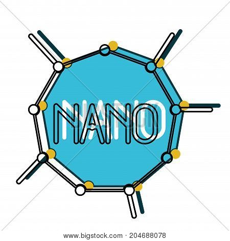 nano molecular structure watercolor silhouette with thick contour vector illustration