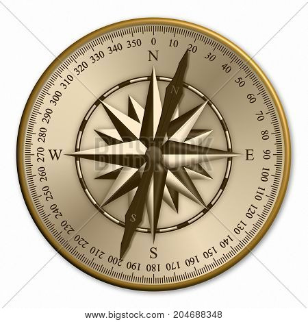 3D illustration of vintage compass showing wind rose and degrees
