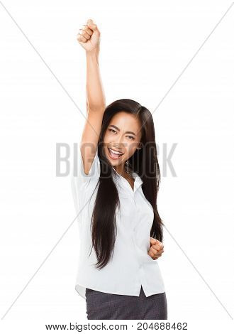 Asian Young Woman Rejoices At Her Success Or Victory