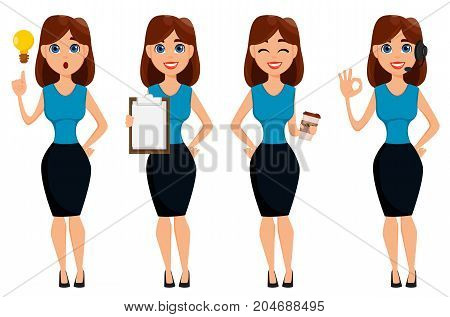 Business woman cartoon character. Cute brunette businesswoman set 4 poses. Vector illustration on white background.