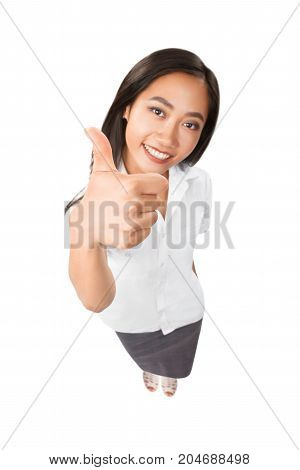 Top View Portrait Of Smiling Asian Woman Thumbs Up Isolated