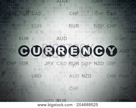 Currency concept: Painted black text Currency on Digital Data Paper background with Currency