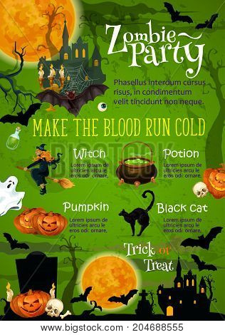 Halloween zombie horror party invitation banner. Ghost haunted house under full moon night sky poster design with Halloween pumpkin, scary witch and bat, spooky skeleton skull and cemetery grave