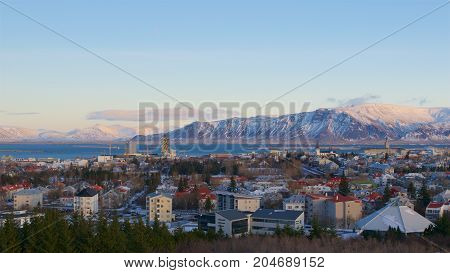 Overview of Reykjavik City and Esja Mountain Range in Iceland