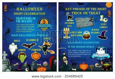 Halloween holiday celebration poster template. Halloween symbol of carving pumpkin lantern, flying ghost, witch and bat, spooky skeleton and skull, cat and spider banner for october night party design