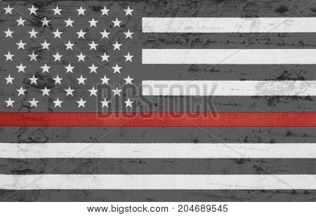 Weathered United States of America thin red line flag