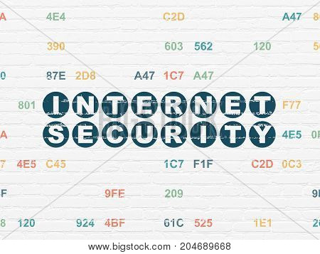 Protection concept: Painted blue text Internet Security on White Brick wall background with Hexadecimal Code