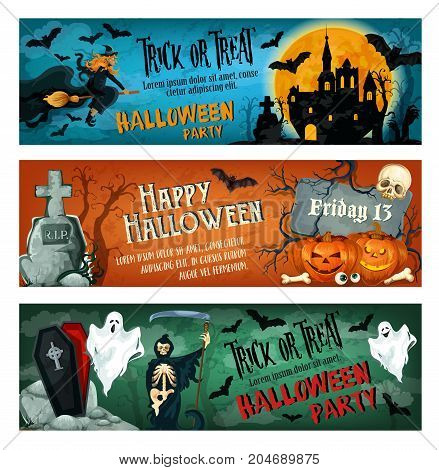 Halloween party banner for october holiday celebration invitation template. Horror ghost and bat, Halloween pumpkin and spooky skeleton skull, witch and cemetery gravestone greeting poster design