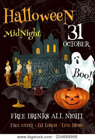 Halloween night holiday spooky party flyer or invitation poster on 21 October horror celebration. Vector trick or treat design template of Halloween pumpkin, spooky ghost in coffin and candle on grave