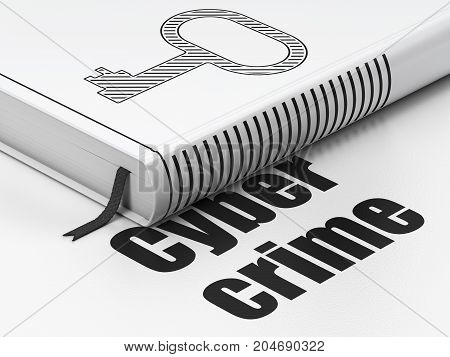 Safety concept: closed book with Black Key icon and text Cyber Crime on floor, white background, 3D rendering