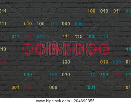 Safety concept: Painted red text Malware on Black Brick wall background with Binary Code