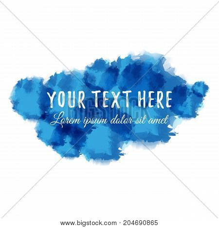 Blue abstract aquarelle and place for text. Vector illustration.