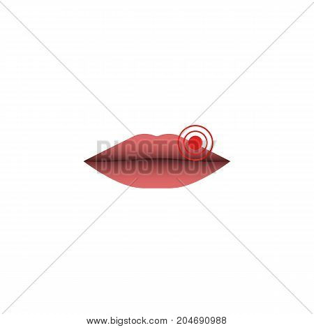 Abstract herpes lips illustration herpes simplex virus closeup of female close lips with a target pointing to the HSV-1 source of infection isolated on white background.