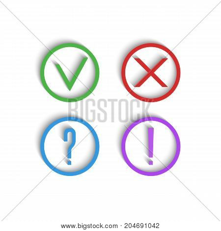 Check Marks 3D Icons. Green Checkmark, Red Cross, Exclamation Mark And Question Mark. A Collection O
