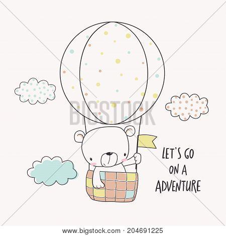 Little bear in a hot air balloon. Cartoon vector illustration for kids. T-shirt graphic for kid's clothing. Use for print design surface design fashion kids wear