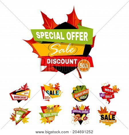 Autumn or Fall Sale discount banners of maple leaf and ribbons for advertising special promo offer shopping poster, seasonal price cut off design. Vector isolated set for online shop web sale store