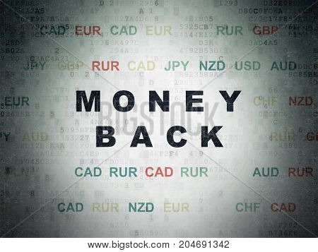 Business concept: Painted black text Money Back on Digital Data Paper background with Currency