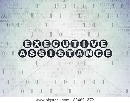 Business concept: Painted black text Executive Assistance on Digital Data Paper background with Binary Code