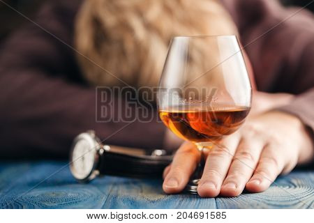 Alcoholic Man Sleep Afer Drink More Whiskey