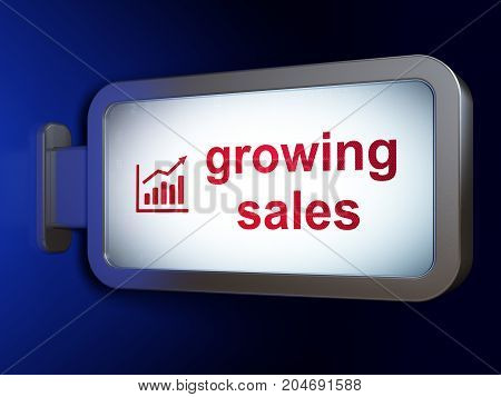 Business concept: Growing Sales and Growth Graph on advertising billboard background, 3D rendering