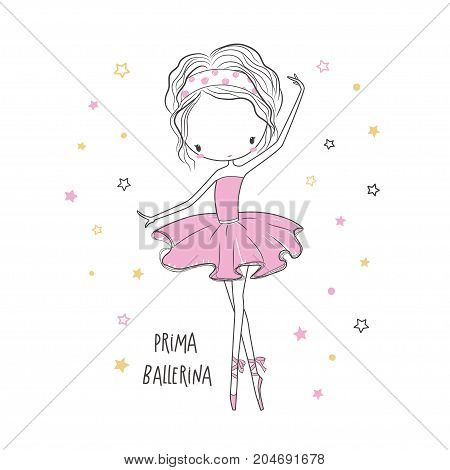 Prima ballerina. T-shirt graphic for kid's clothing. Use for print design surface design fashion kids wear