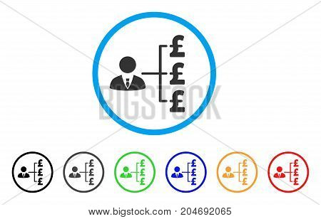 Banker Pound Payments rounded icon. Style is a flat banker pound payments gray symbol inside light blue circle with black, gray, green, blue, red, orange color versions.