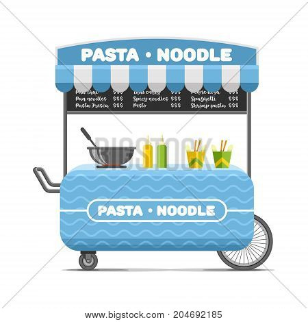 Pasta and noodle street food cart. Colorful vector illustration, cartoon style, isolated on white background