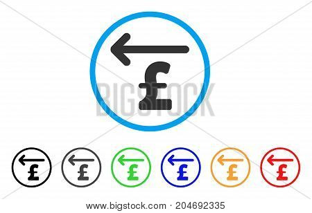 Cashback Pound rounded icon. Style is a flat cashback pound grey symbol inside light blue circle with black, gray, green, blue, red, orange versions. Vector designed for web and software interfaces.