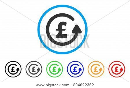 Chargeback Pound rounded icon. Style is a flat chargeback pound grey symbol inside light blue circle with black, gray, green, blue, red, orange versions.