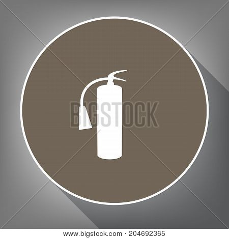 Fire extinguisher sign. Vector. White icon on brown circle with white contour and long shadow at gray background. Like top view on postament.