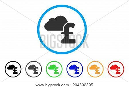 Cloud Pound Banking rounded icon. Style is a flat cloud pound banking grey symbol inside light blue circle with black, gray, green, blue, red, orange variants.