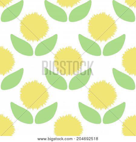 Seamless vector pattern of cartoon dandelion on white background