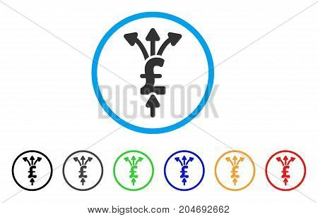 Divide Pound Payments rounded icon. Style is a flat divide pound payments grey symbol inside light blue circle with black, gray, green, blue, red, orange variants.