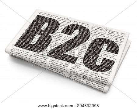 Business concept: Pixelated black text B2c on Newspaper background, 3D rendering