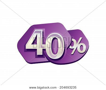 bold forty percent icon, illustration design, isolated on white background.