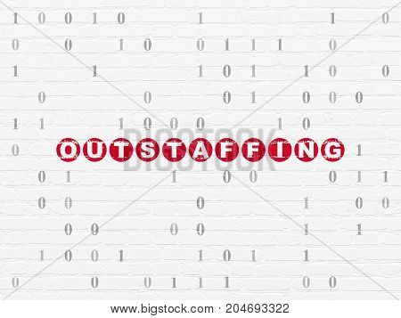 Finance concept: Painted red text Outstaffing on White Brick wall background with Binary Code