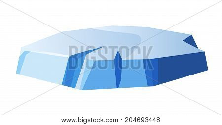 Small round thick piece of ice isolated vector illustration on white background. Small island of smooth gold glace of blue tint with uneven edges and chipped pieces. Solid part of frozen water.