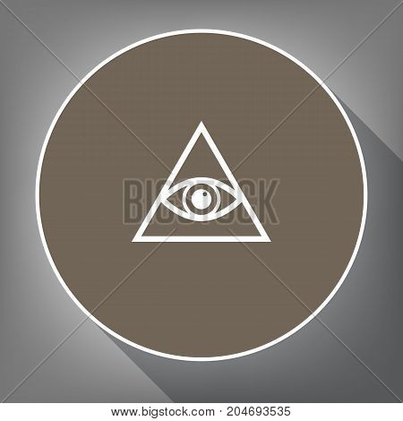 All seeing eye pyramid symbol. Freemason and spiritual. Vector. White icon on brown circle with white contour and long shadow at gray background. Like top view on postament.