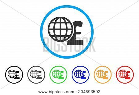 Global Pound Finances rounded icon. Style is a flat global pound finances gray symbol inside light blue circle with black, gray, green, blue, red, orange versions.