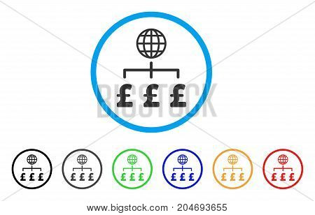 Global Pound Payments rounded icon. Style is a flat global pound payments gray symbol inside light blue circle with black, gray, green, blue, red, orange variants.