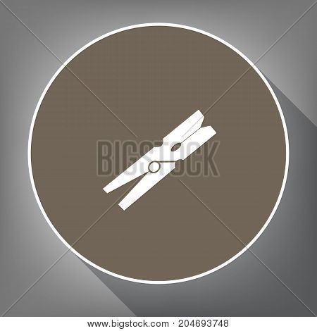 Clothes peg sign. Vector. White icon on brown circle with white contour and long shadow at gray background. Like top view on postament.